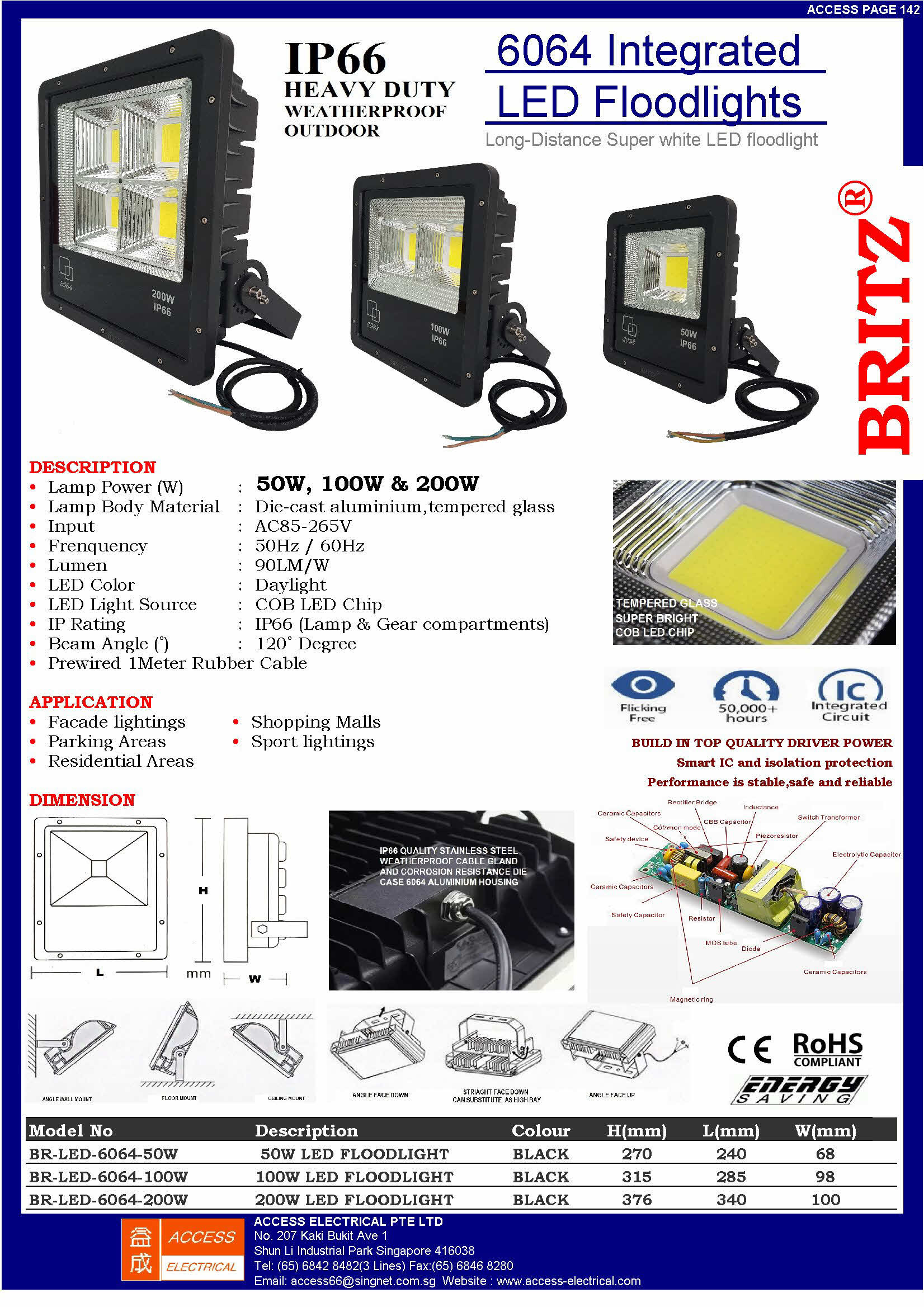 6064 INTEGRATED LED FLOODLIGHT